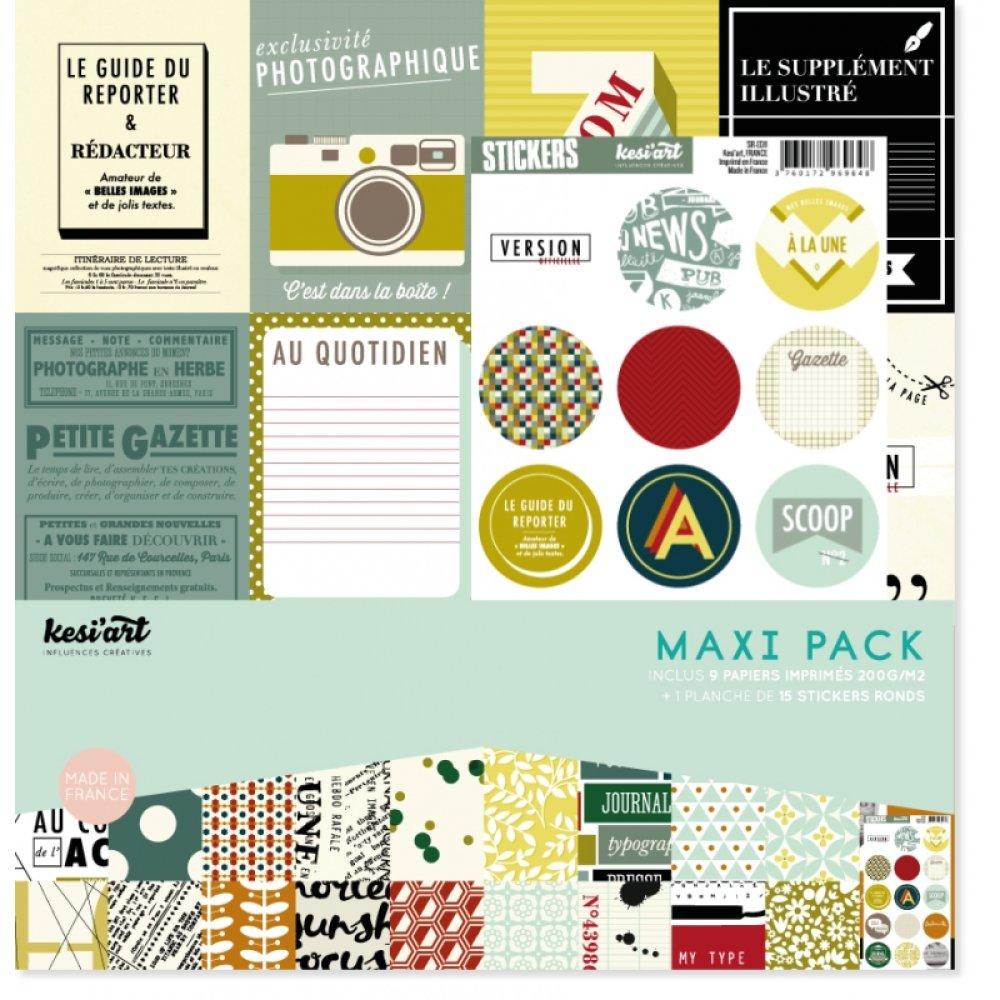 Papier Kesi'art, stickers ronds, 30x30 cm, scrapbooking, rétro, vintage, édito, photo, imprimé, journal, assortiment