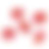 Lot de 5 perles en céramique émaillées - rouge - 16 x 13 mm