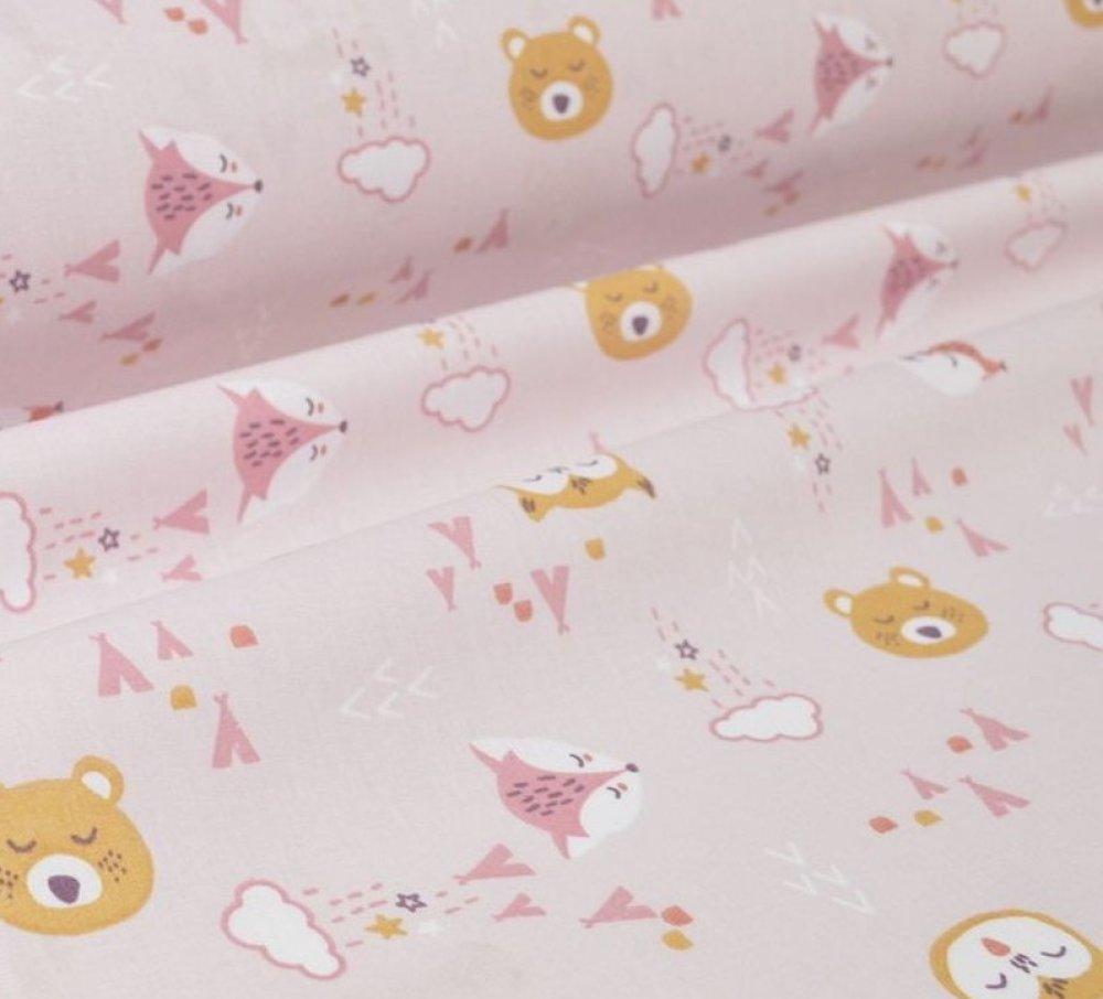 Tissu au mètre, 100% coton, oeko tex, animaux, forêt, renard, rose, enfant, bébé, couture