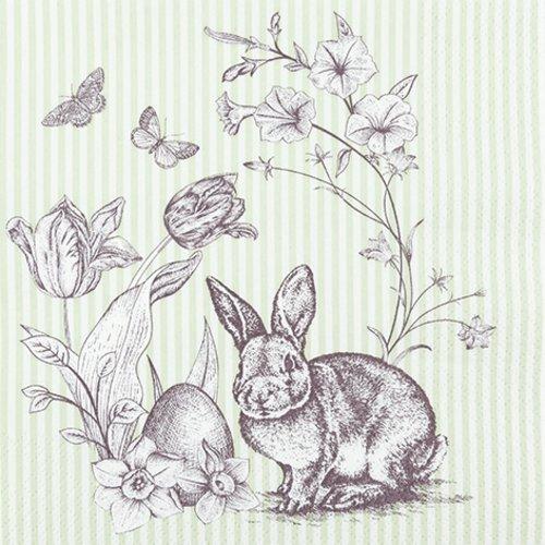 Serviette en papier, 33x33 cm, pâques, lapin, oeuf, fleur, serviettage, collage, collection, x1