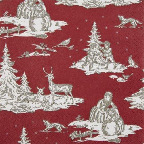 Serviette en papier, 33x33 cm, forêt, rouge, classique, hiver, serviettage, collage, collection, x1