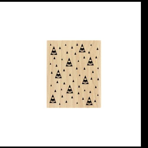 Tampon en bois - sapins - florilèges design - 8 x 10 cm