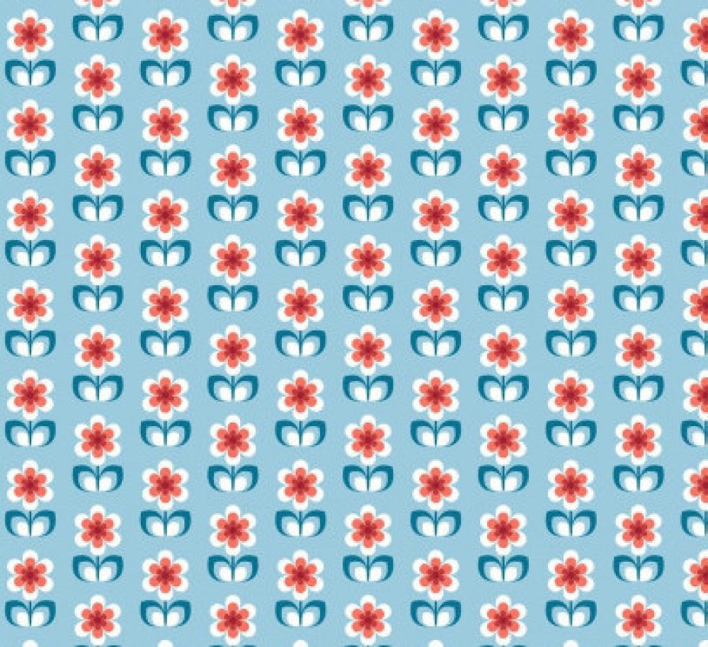 Coupon tissu coton - Fleurs scandinaves - 45 x 50 cm