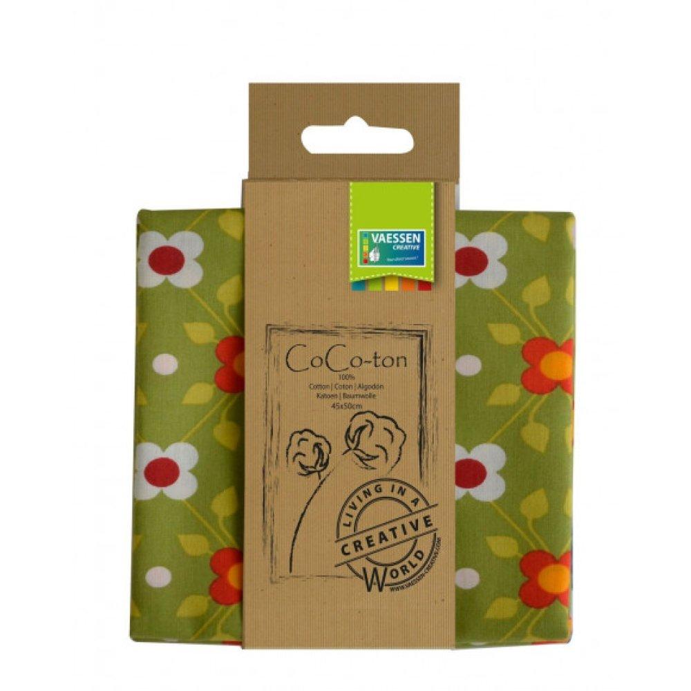 Coupon tissu coton - Grandes fleurs rétro - vert - 45 x 50 cm