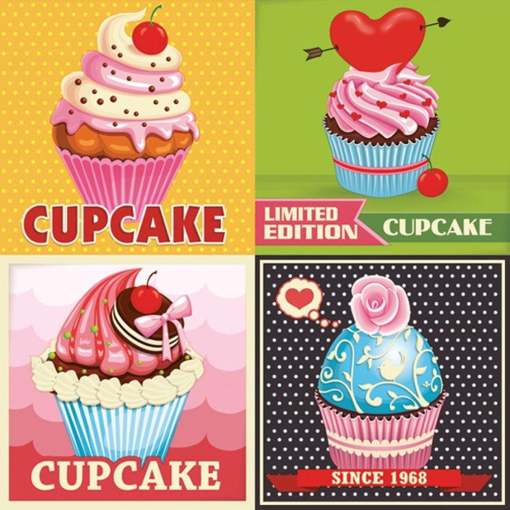 Serviette en papier - Affiches cupcakes rétro - 33 x 33 cm