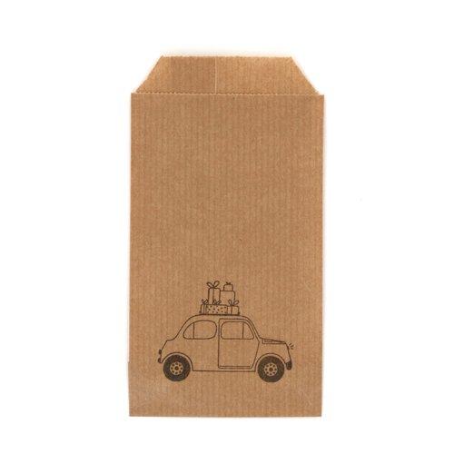 Lot 10 sachets kraft - voiture de noël - 7 x 12 cm