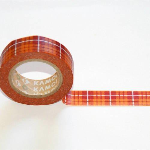 Masking tape motifs ecossais tartan - carreaux - orange - checked orange - mt