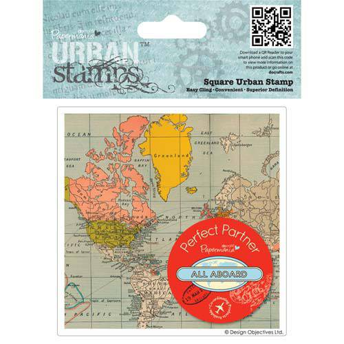 Grand TAMPON Caoutchouc - CARTE du monde - Voyage - All aboard map -Urban Stamp - DOCRAFTS