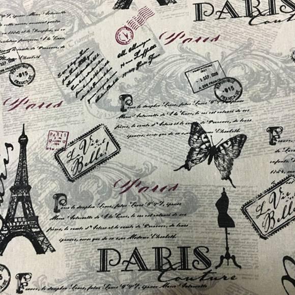 Coupon tissu coton et lin vintage - La vie est belle - 50 x 70 cm