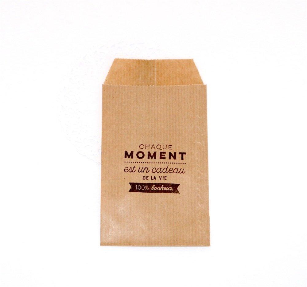 Lot 10 sachets kraft - Chaque moment est un cadeau de la vie - 100% bonheur - 7 x 12 cm