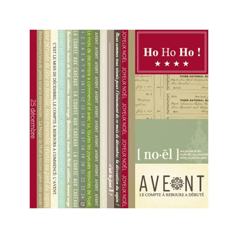 Assortiment PAPIER scrapbooking et Etiquettes - Noël - Avent - Mini Pack - KESI'ART