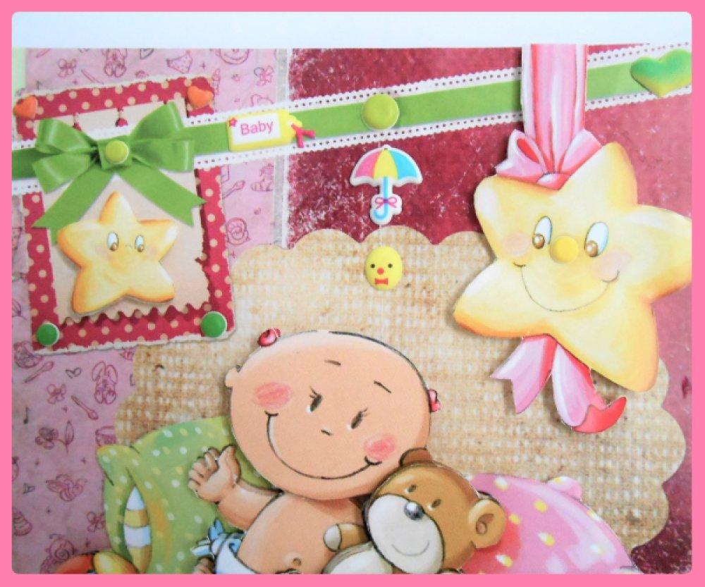 carte de naissance rose, bébé et son ourson