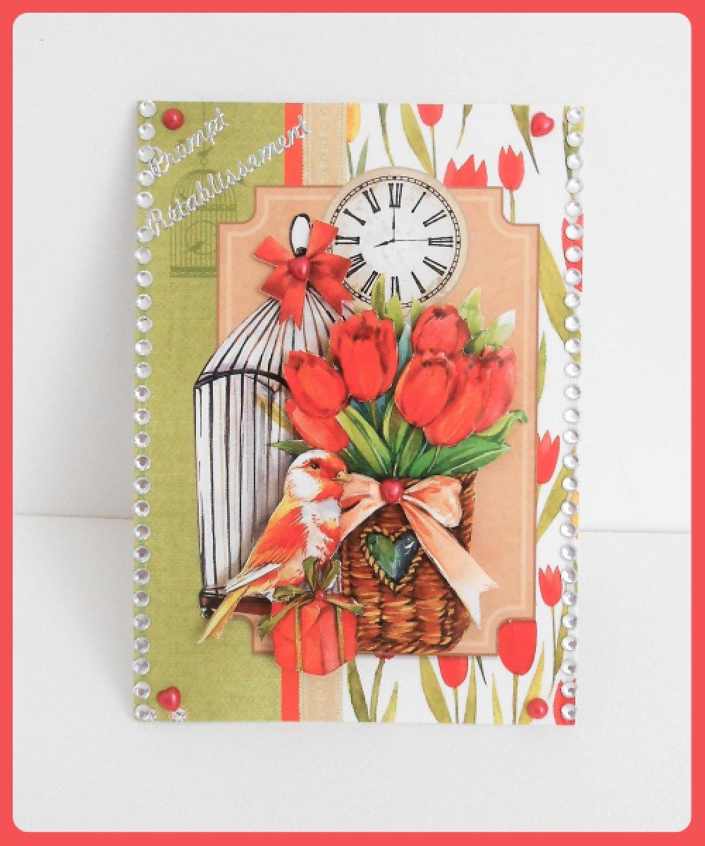 carte prompt rétablissement, tulipes et oiseau