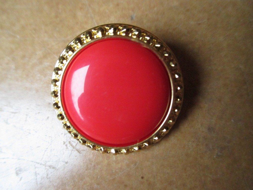 boutons bijoux rouge et or 18 mm vintage