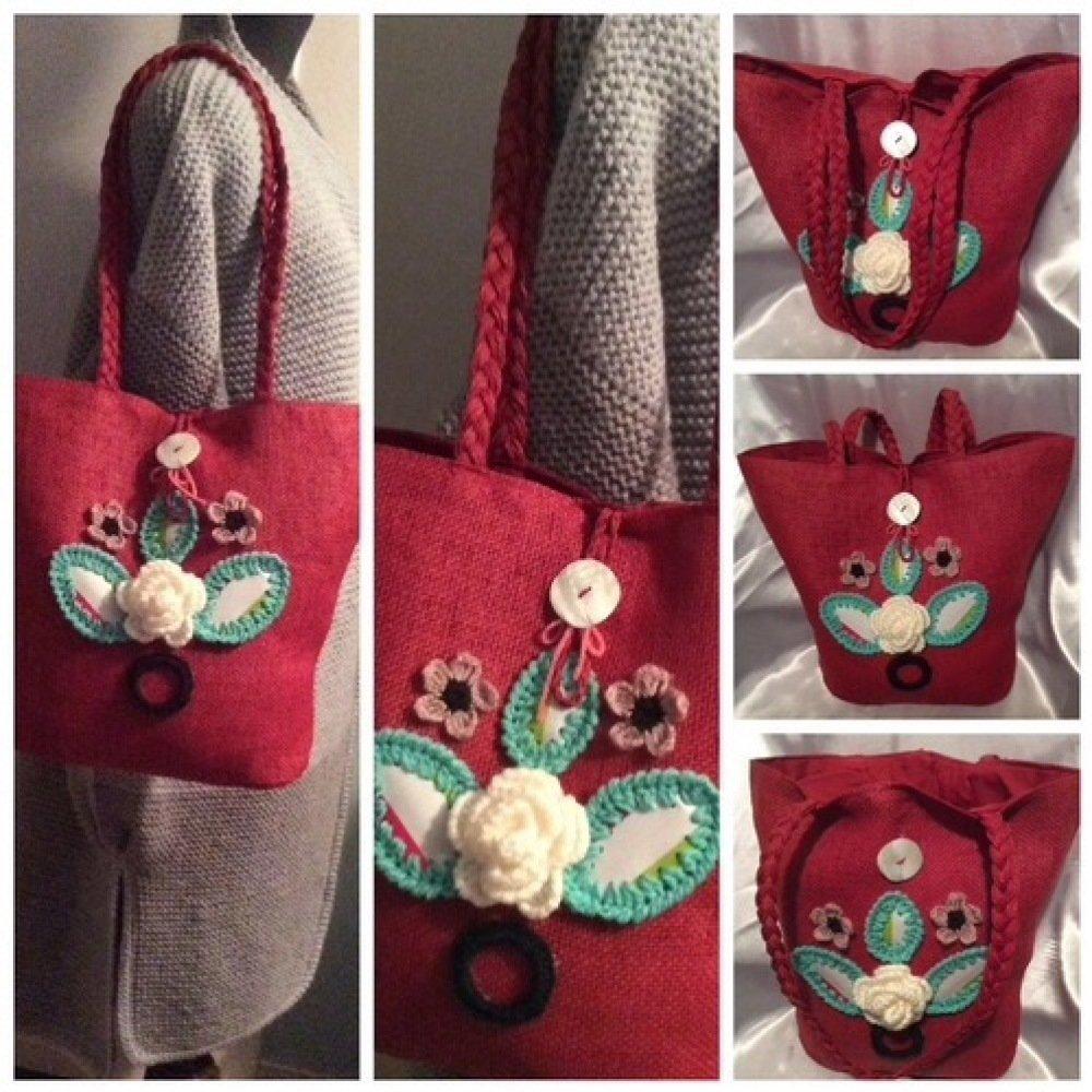 Grand sac panier,bandoulière avec décor acrylique