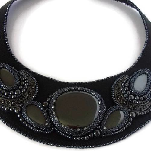 collier noir cuir femme