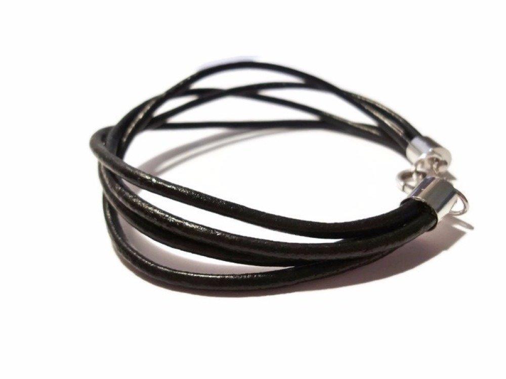 Bracelet homme, Bracelet Cuir Noir, bracelet multi cordons, Bracelet cuir