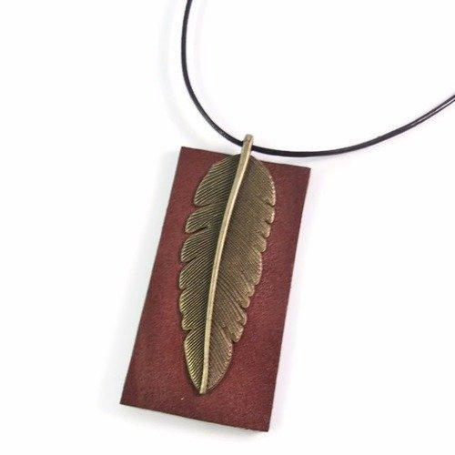Collier homme, collier cuir et laiton, collier pendentif cuir, collier plume, collier homme cuir