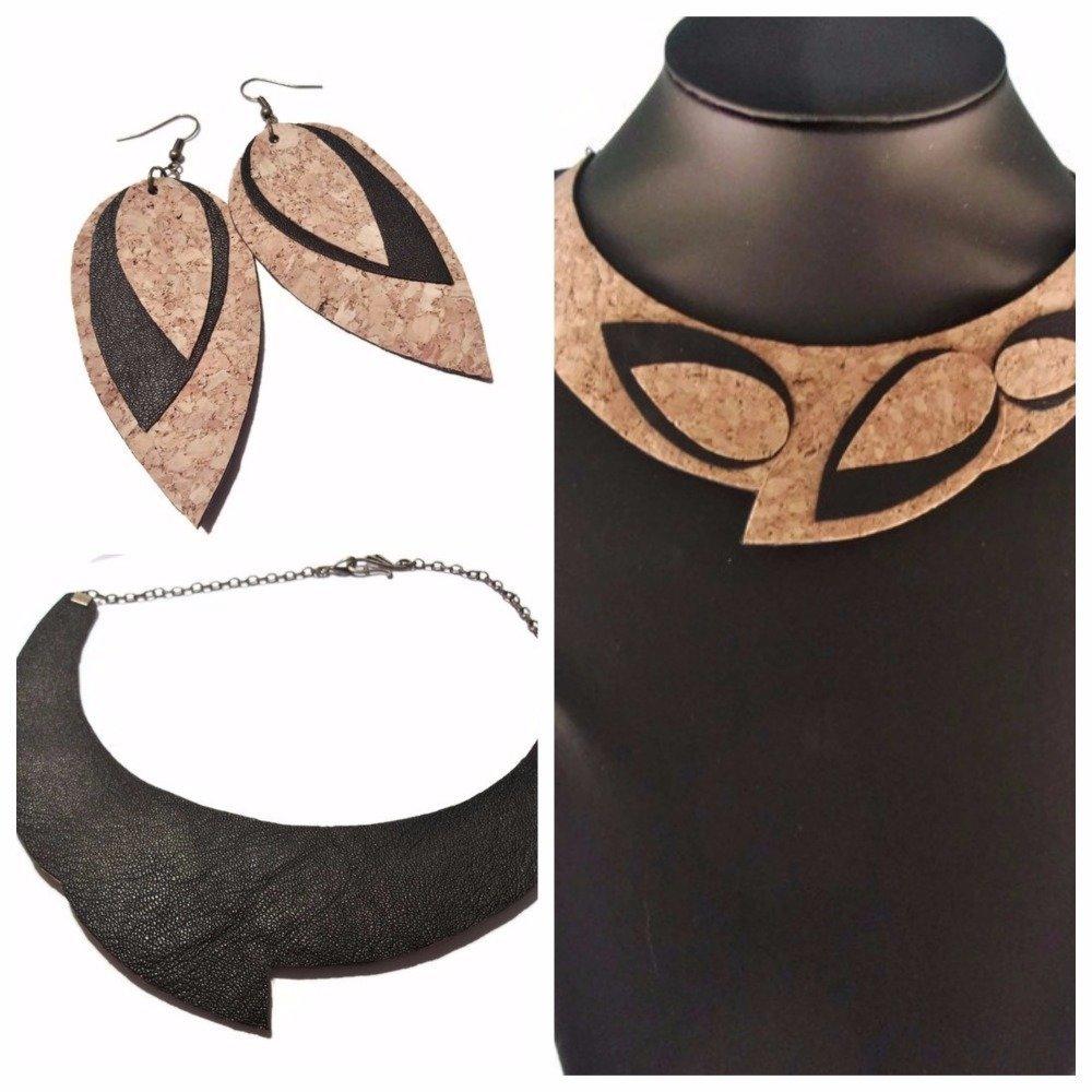 Collier femme, Collier liège, Collier ras du cou, Collier cuir et liège, collier noir et beige, collier feuilles