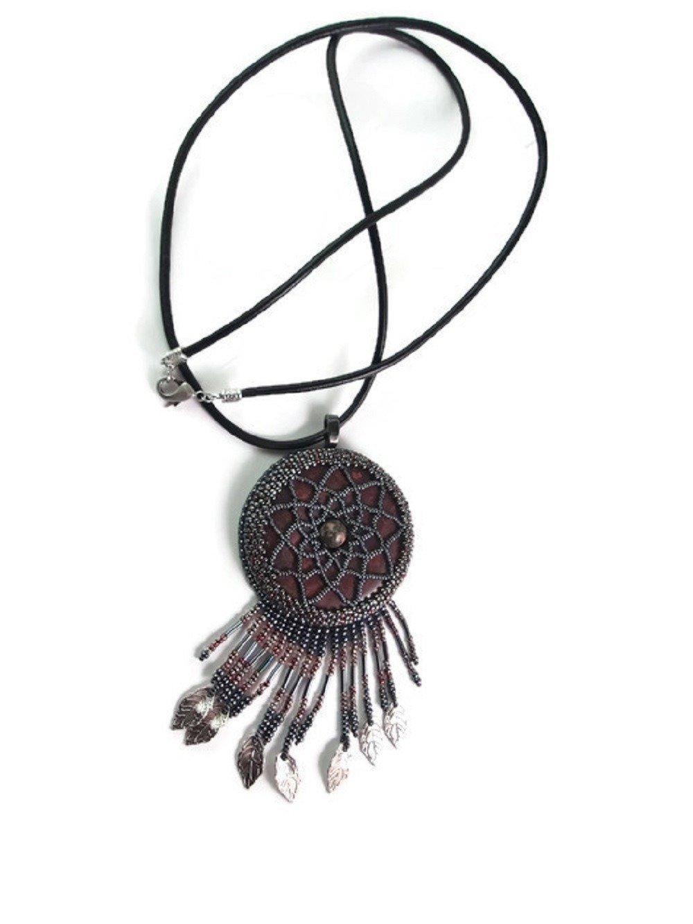 Collier attrape rêves, Sautoir Jaspe Poppy, Sautoir dreamcatcher, Collier long cuir noir