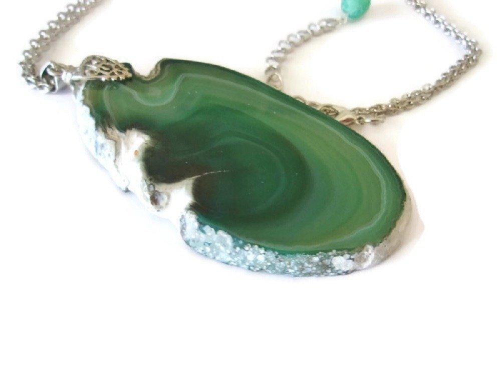 Collier pendentif femme agate tranche verte, Ensemble pendentif  et chaîne, Pendentif vert