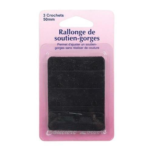 3 crochets Rallonges de soutien-gorge dos de 50 mm Noir