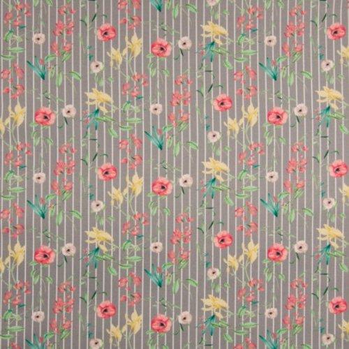 Tissu habillement - 100% coton - fleurs et fine rayures  - largeur 1m40