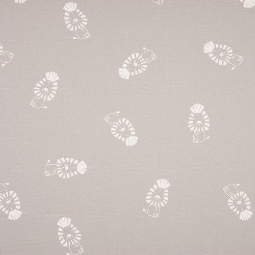 Tissu habillement - 100% coton - motif blanc sur fond gris perle - largeur 1m40