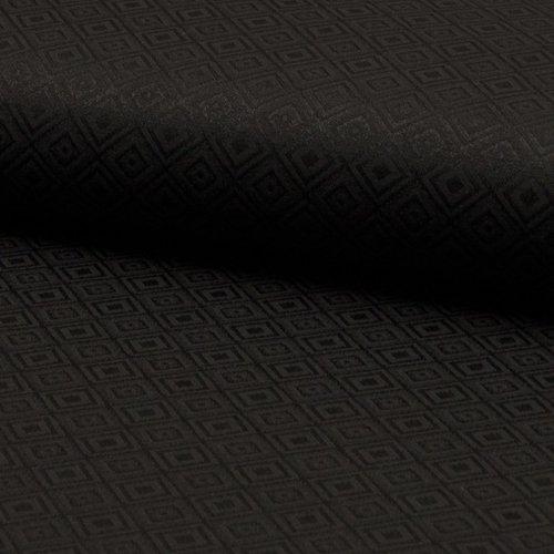 Tissu habillement - 55% coton et 45 % polyester - noir motif losanges - largeur 1m40