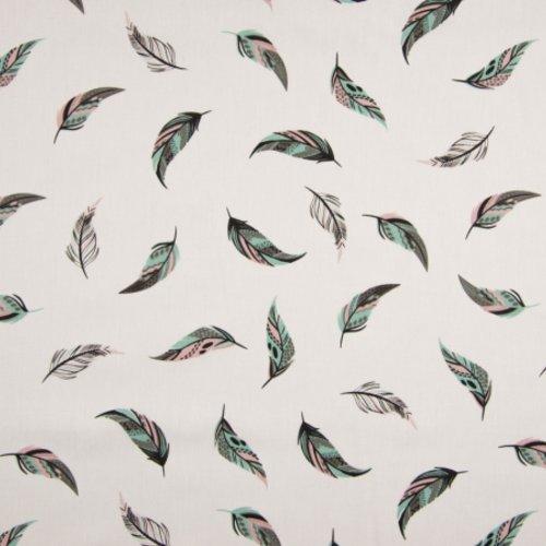 Tissu habillement - 100 % coton - fond blanc motifs plumes  - largeur 1m40