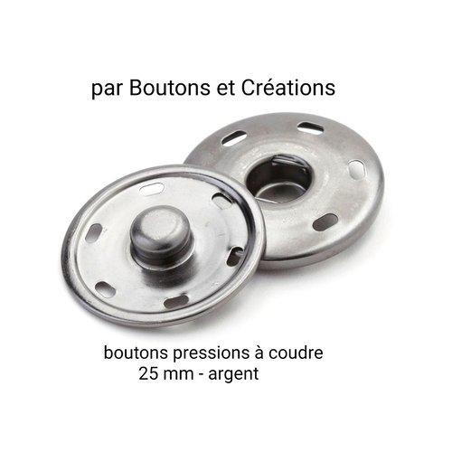 Lot de 6 boutons pressions - à coudre - 25 mm - metal argent - vendu par 6
