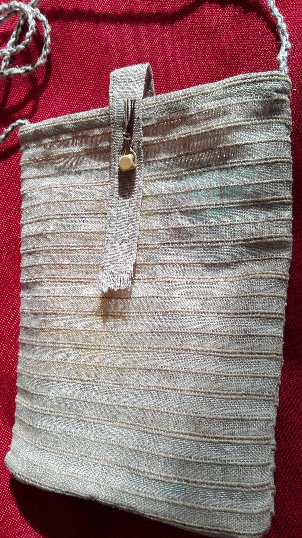 pochette ou petit sac bandoulière en lin tissé et  coton