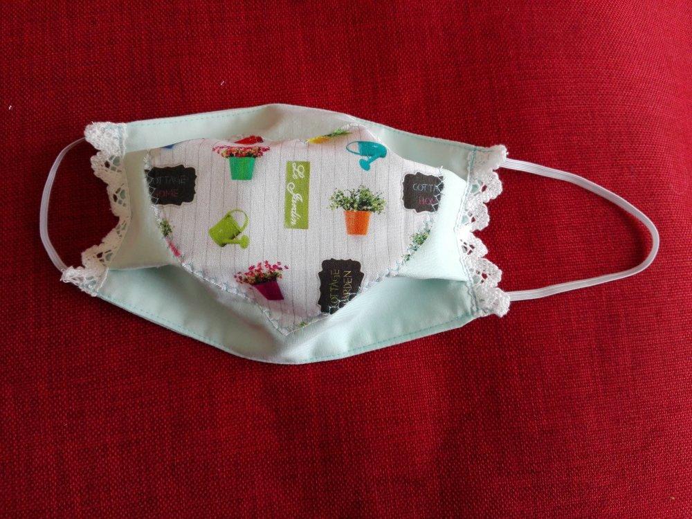 masque durable  plat à plis  coton  pour adulte avec motif coeur