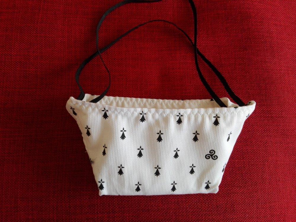 masque de protection taille adulte forme bec de canard blanc à motifs bretons