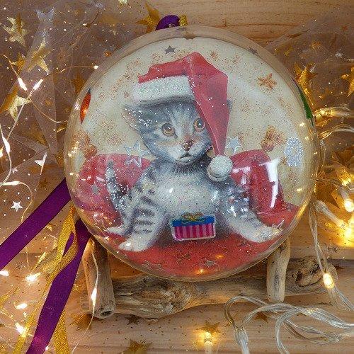Boule de noel 14,5cm serviettage chats et nounours, décoration