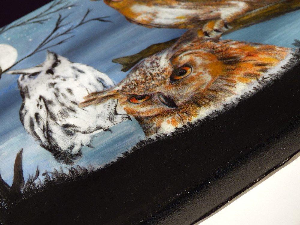 tableau peinture et collage hiboux