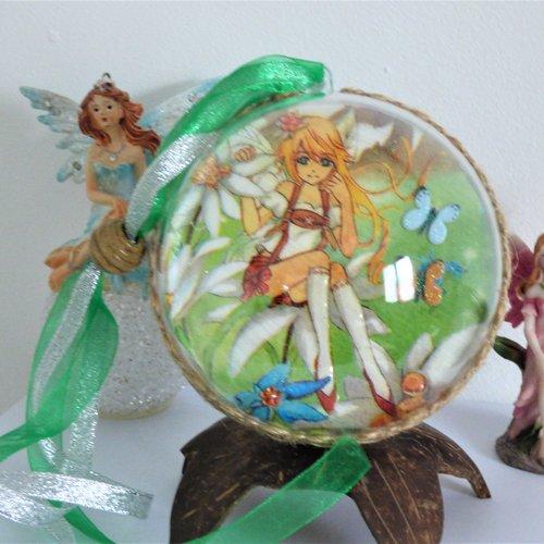 Boule acrylique fées 2 faces différentes serviettage, chambre de filles