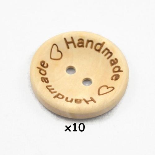 10 boutons en bois handmade