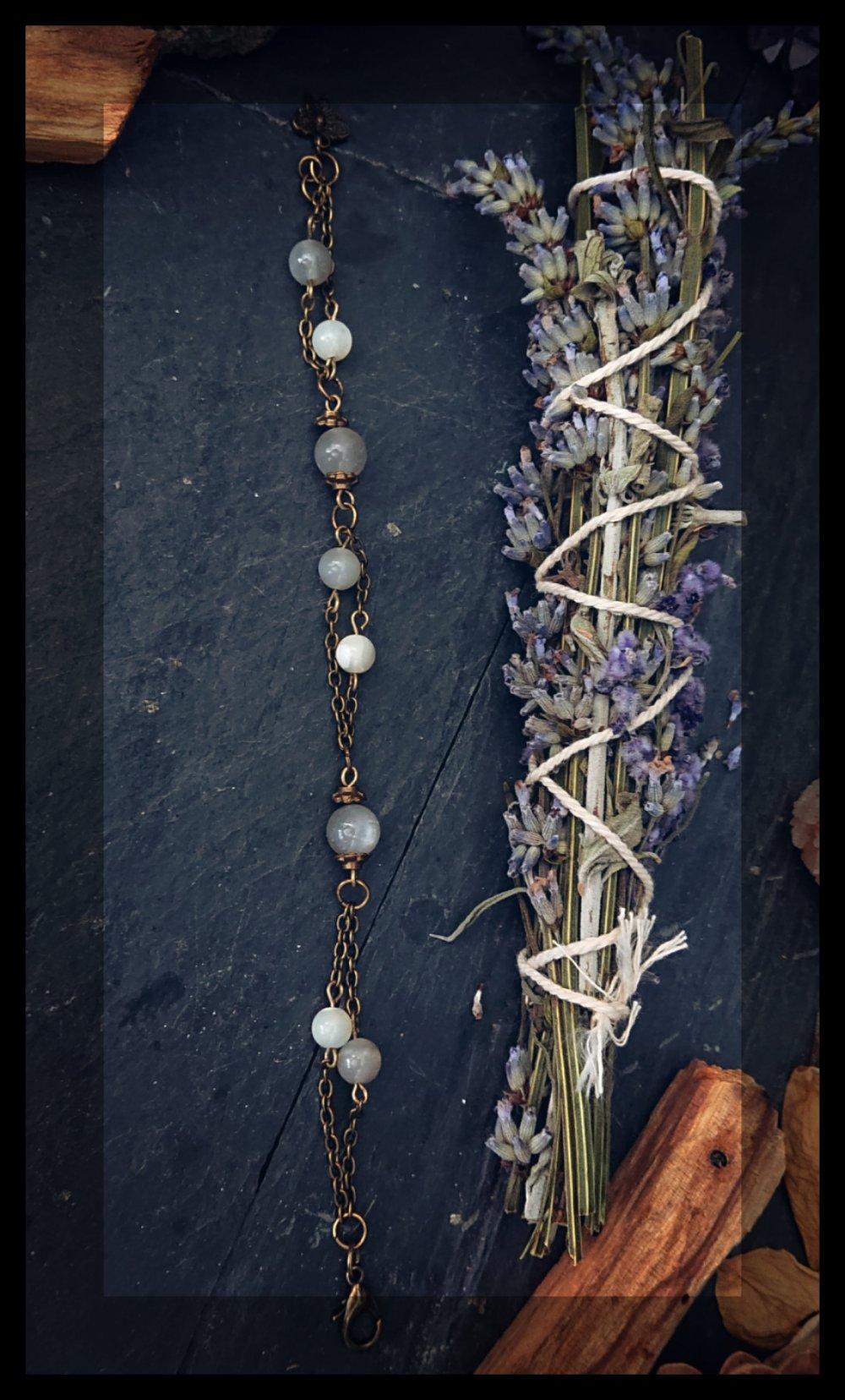 Bracelet pierre de lune et nacre
