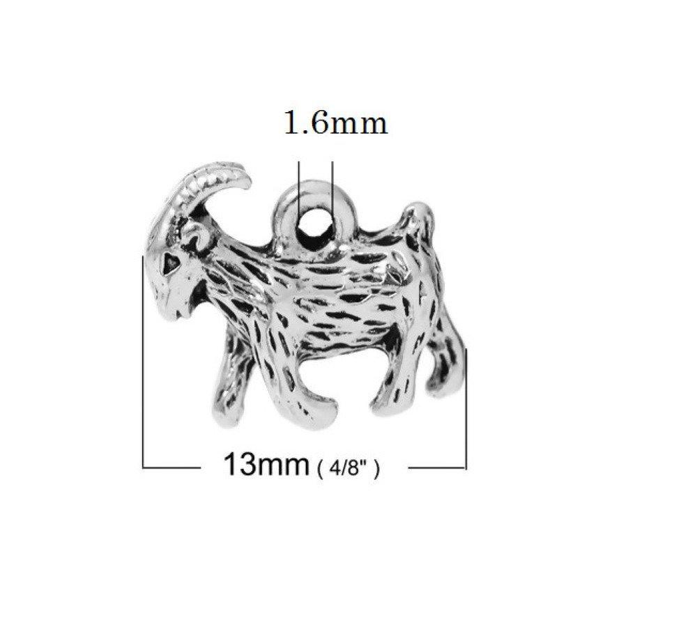 B94 breloque pendentif 3D mini chèvre animal fromage argenté