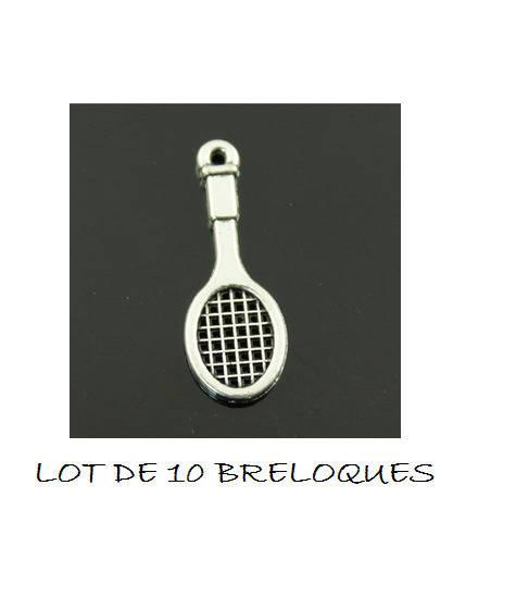 B06 Lot de 5 breloques raquette de tennis sport argenté