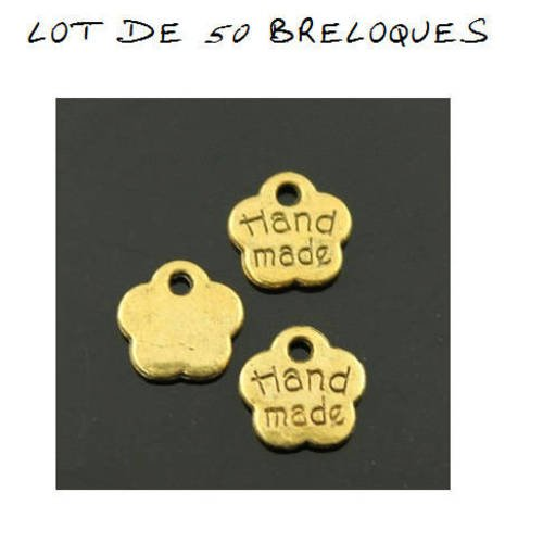 "S15 lot de 10 breloques fleur ""hand made"" fait main or doré"