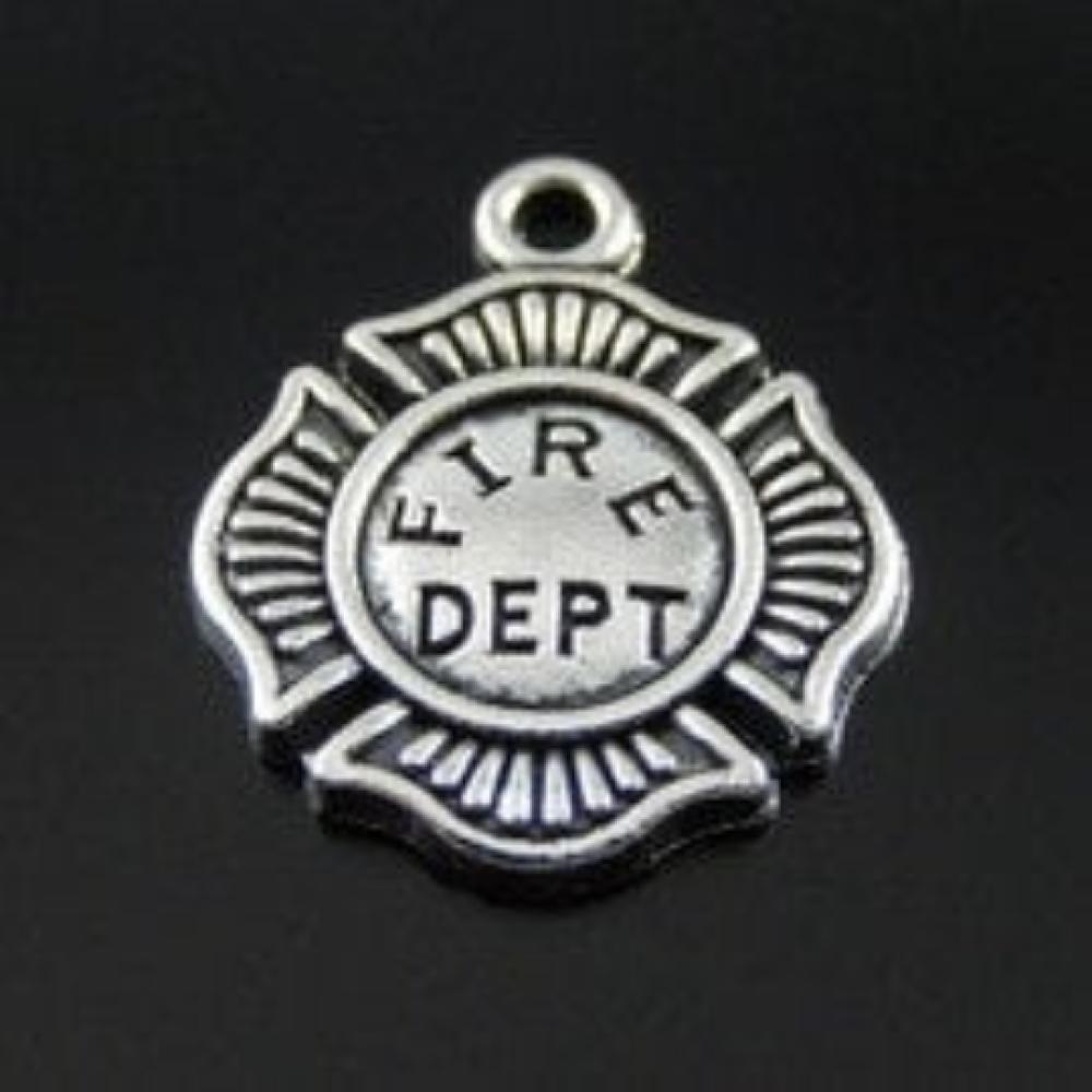 C41 breloque pendentif médaille incendie FIRE DEPT Pompier argent