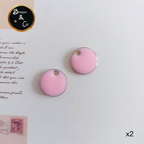 Breloques ronds - sequins émaillés - ronds roses  -  12 mm - lot de 2