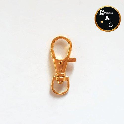 Grand fermoir mousqueton porte clé pivotant doré  - idéal pour bijou de sac ou porte clé