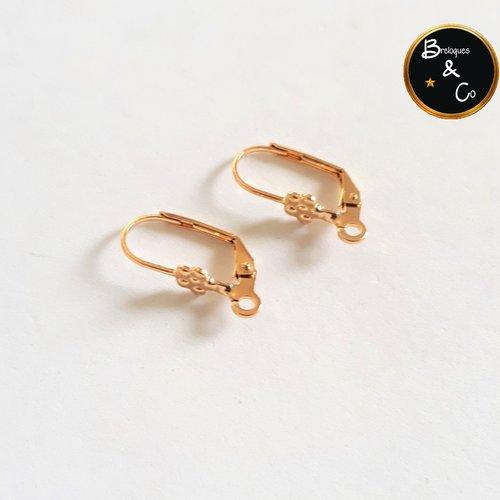 Supports de boucles d'oreilles - dormeuses  en acier inoxydable doré  - 1 paire