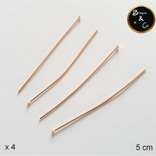 Clou - tige à tête plate  en acier inoxydable doré (5 cm) - lot de 4