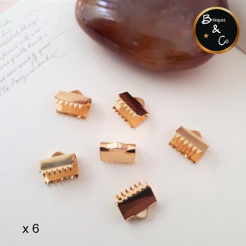 Fermoir embout griffes / embout ruban en acier inoxydable doré - 10 mm / lot de 6