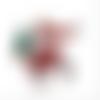 Breloque père noël - doré émaillé rouge et blanc  avec sapin vert