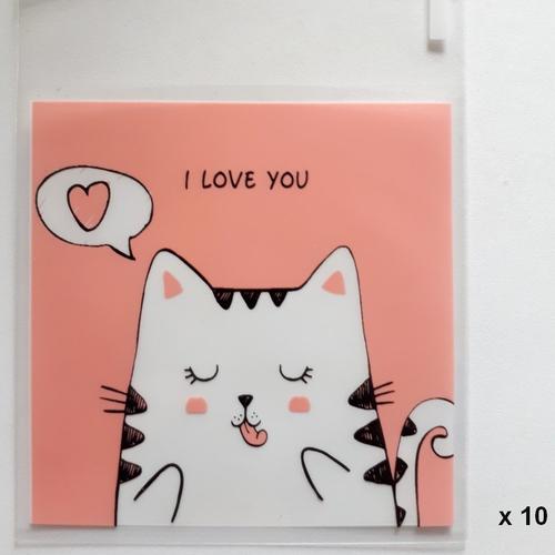 Sachet / pochette plastique - avec bande adhésive - décor chats - transparent  rose - lot de 10